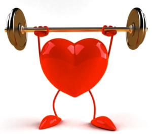 Heart with weight lift.
