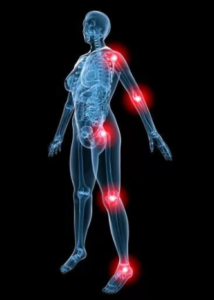 Person with red lights on body for inflammation.