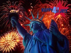 statue of liberty graphic in front of fireworks for 4th of july