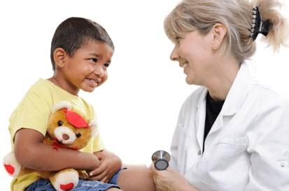 smiling nurse with little kid