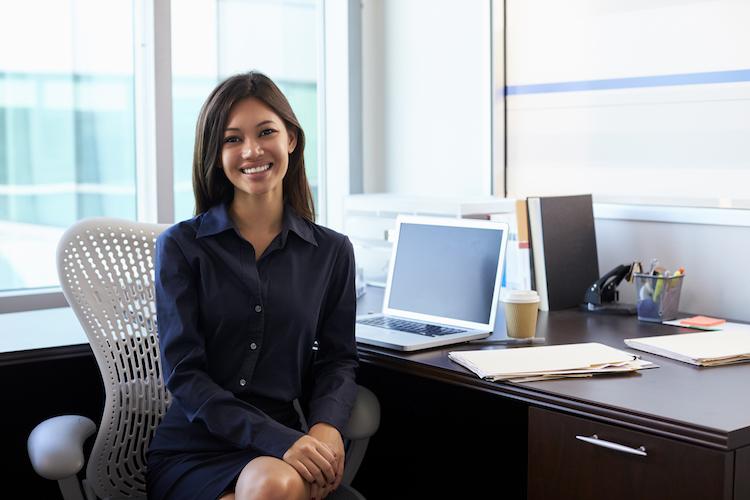Female healthcare professional at desk