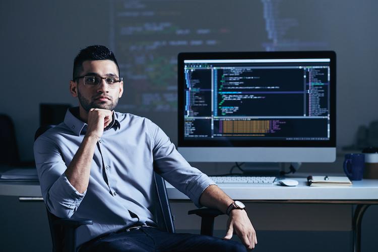 Software developer at office