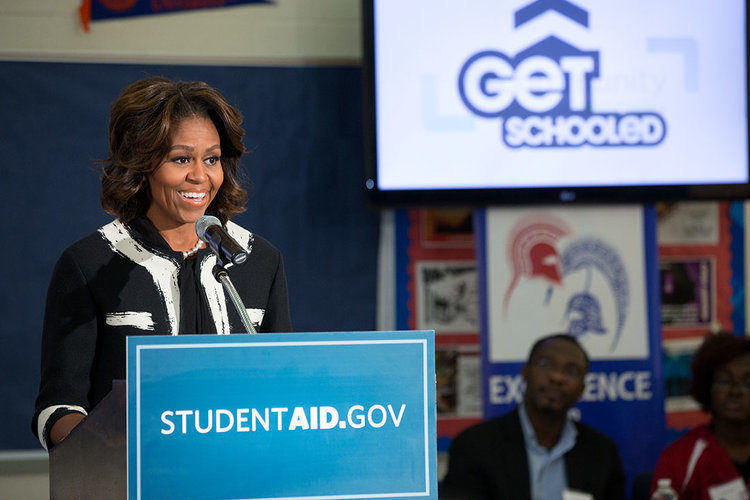 Michelle Obama speaking about student aid