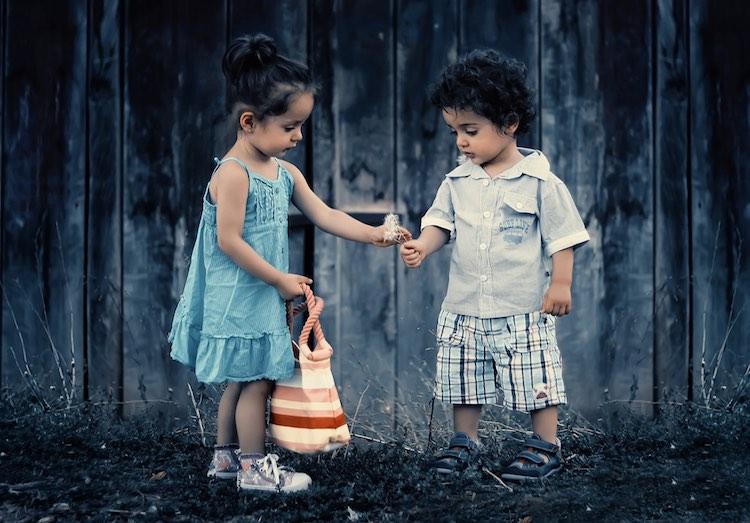 children picking flowers