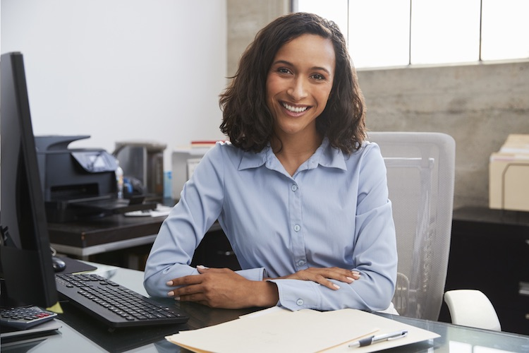 business woman working at a desk