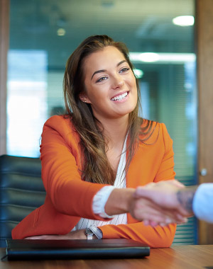 woman shaking hands in office