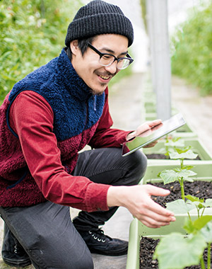 Sustainability expert checking on crop's new growth