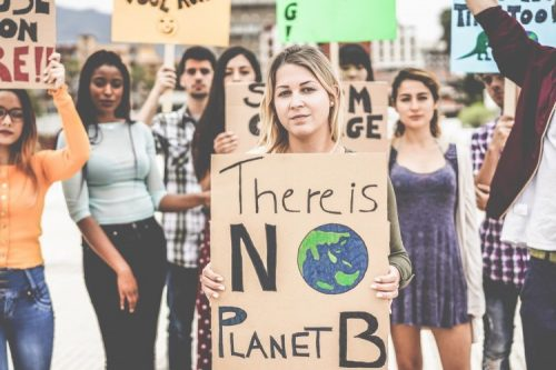 Climate change activists at a rally.