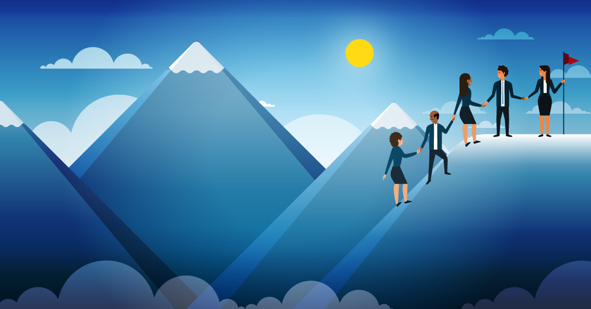 Leadership team members help each other climb a mountain, symbolizing achieving positive change management.