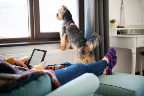 woman lounging with e-reader and dog nearby