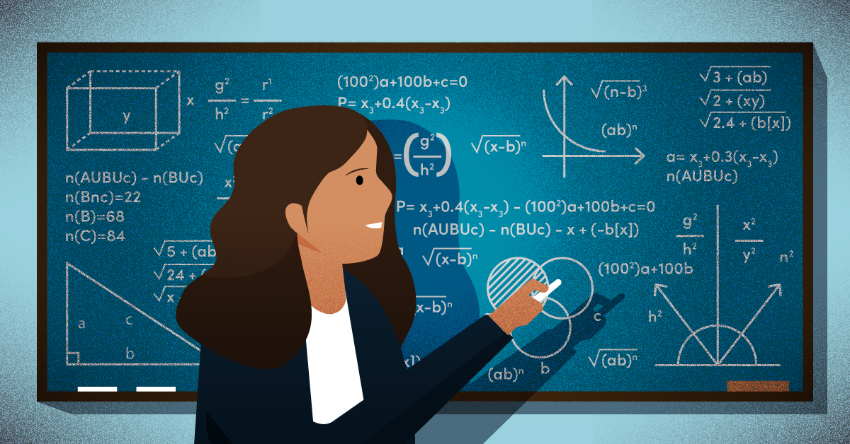 A woman solving complex math problems on a chalkboard.