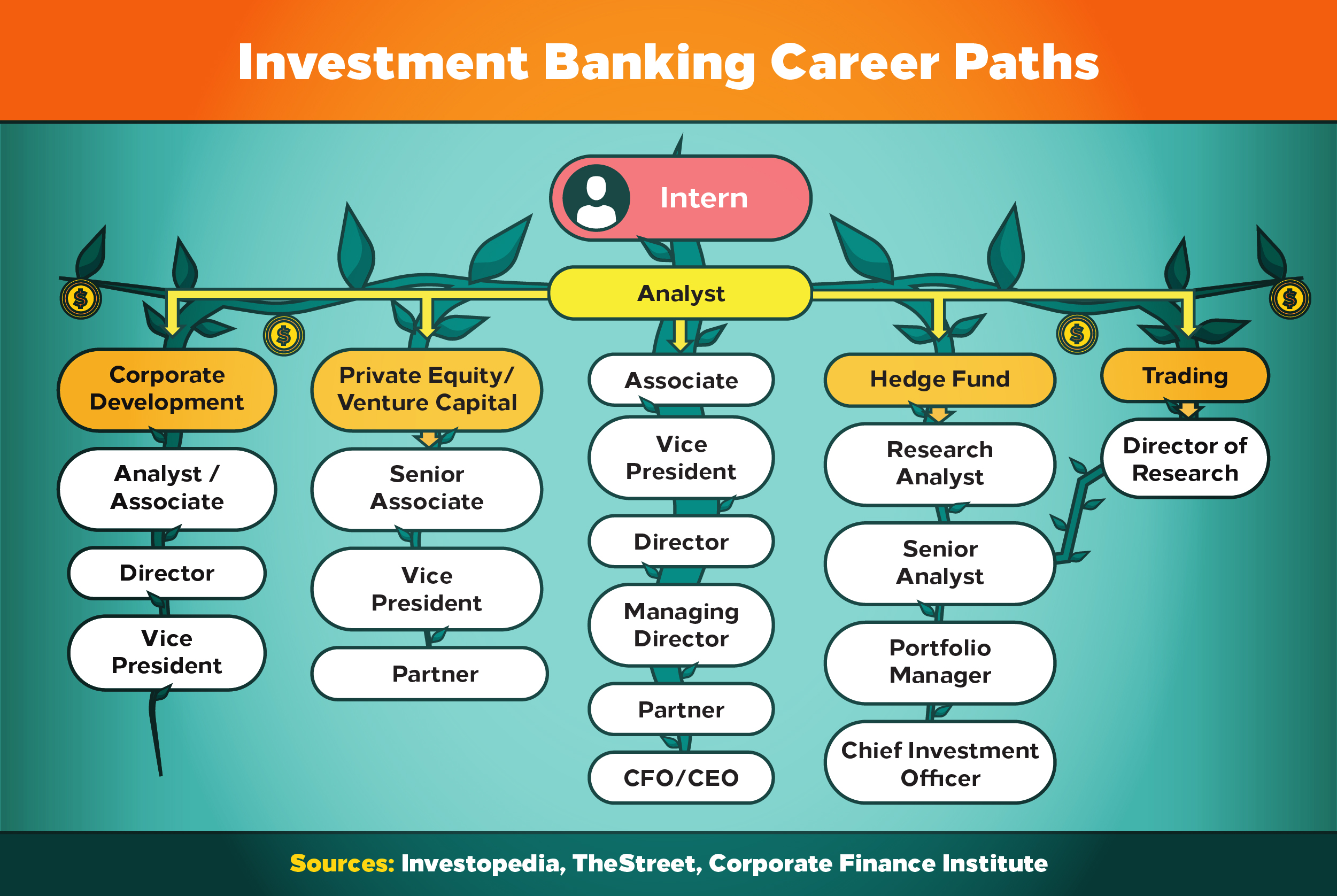 Investment banking career paths include analyst, private equity, hedge fund management, and trading.