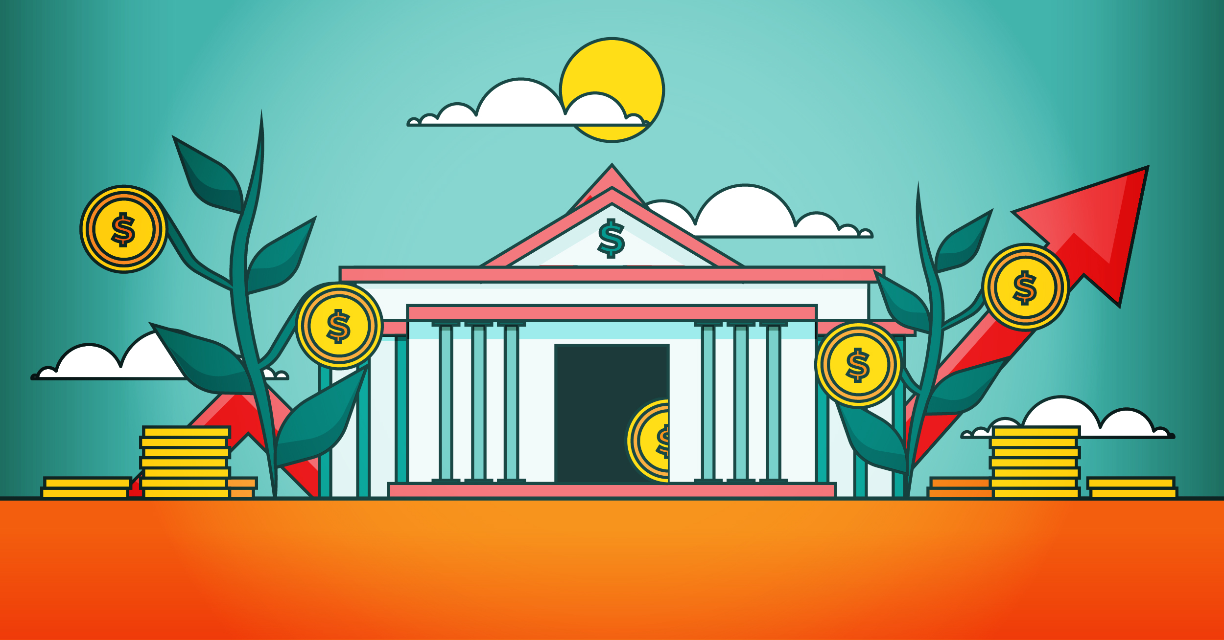 A bank with many coins surrounding it.
