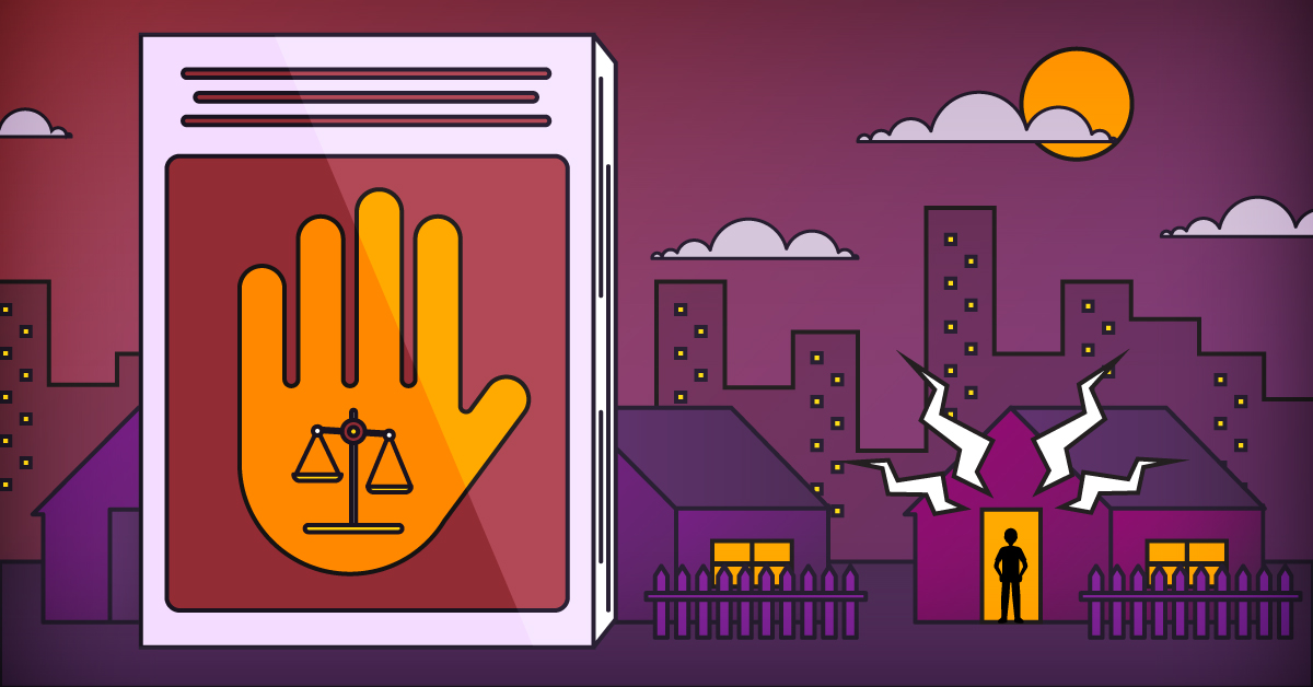 An illustration of a city neighborhood and a guidebook depicting a hand and scales of justice