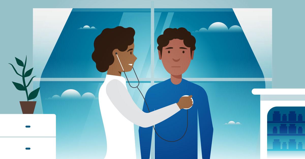 Public health nurse checking a patient's heart rate.