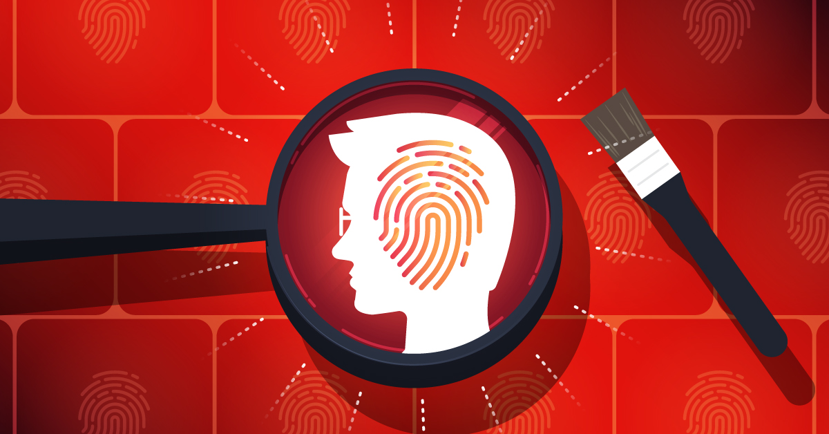 Illustration of a magnifying glass looking at a fingerprint superimposed on a man's head