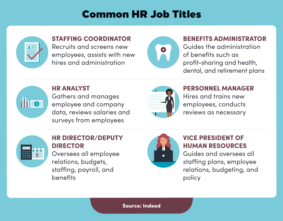 Common HR job titles include staffing coordinator, benefits administrator, HR analyst, personnel manager, HR director, and vice president of human resources.