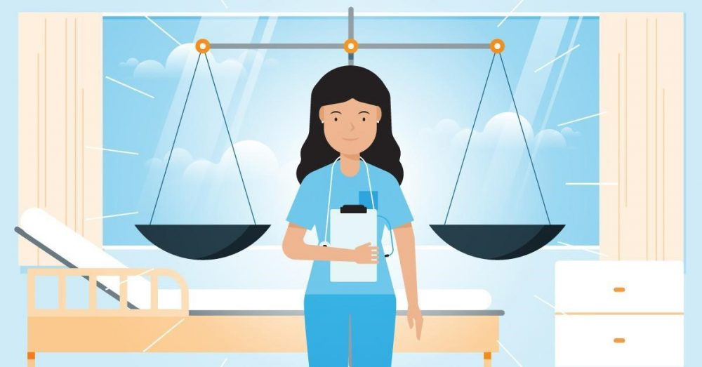 A nurse standing between the scales of justice.