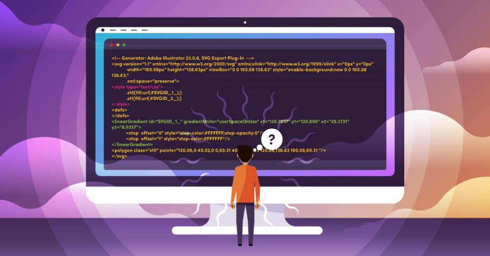 Illustration of a man looking at lines of code on a computer screen