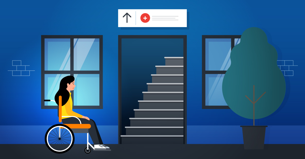 A woman in a wheelchair is unable to enter a medical facility because of the stairs.