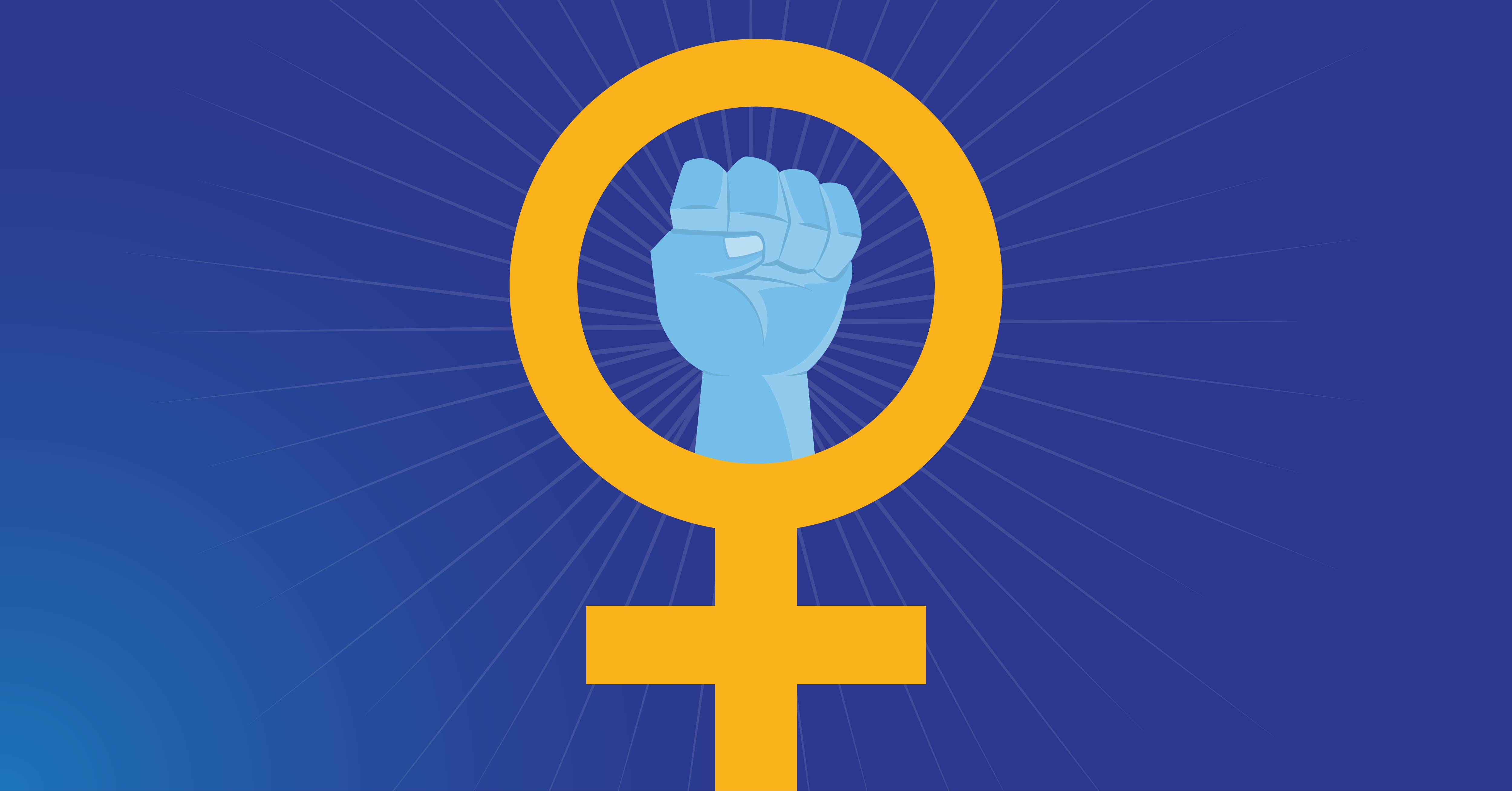 A symbol for the women's movement: A raised fist embedded within a Venus symbol.