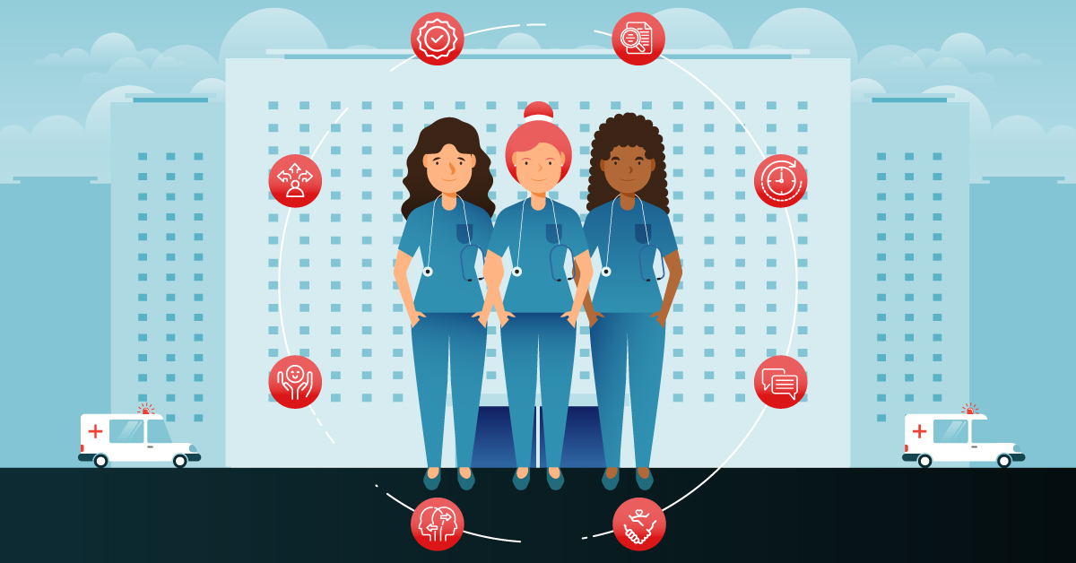 Three nurses stand in a circle of symbols signifying skills such as professionalism, cultural awareness, and empathy.