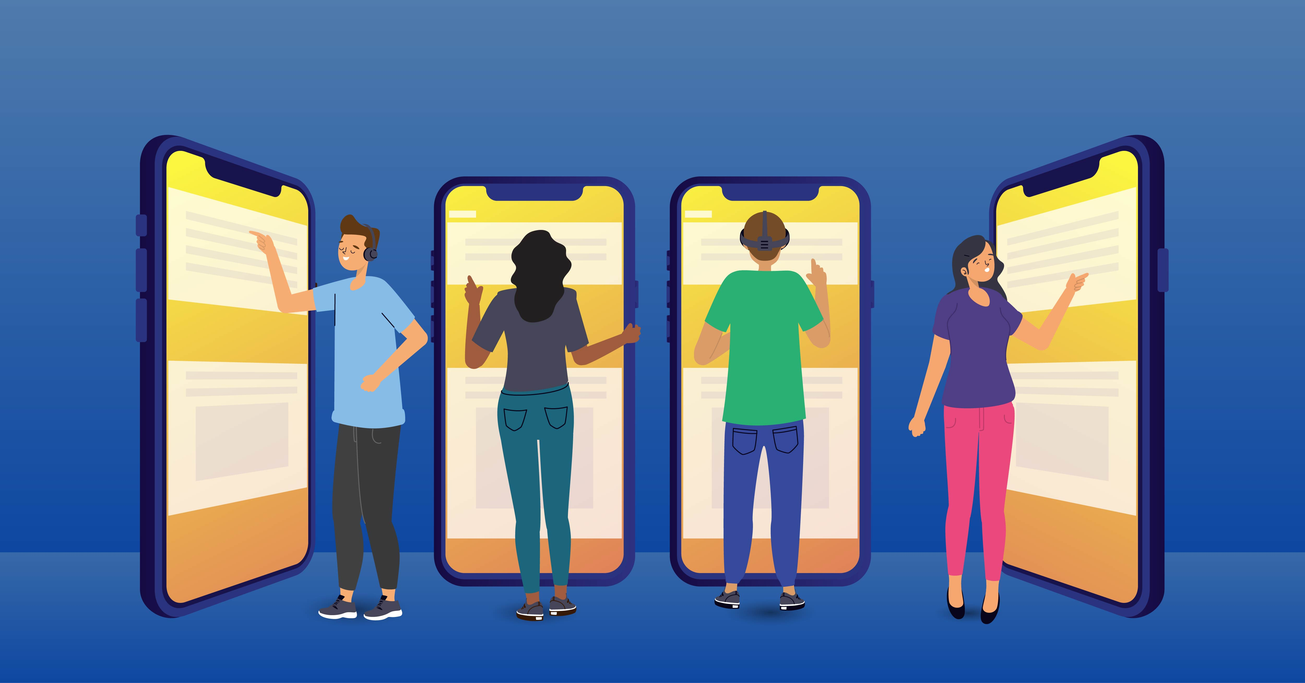 Four people engaging with human-sized smartphones.