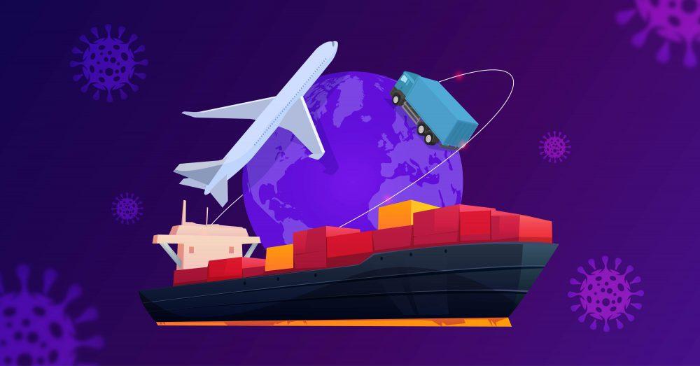 A tanker, a plane, and a semi circle the globe.