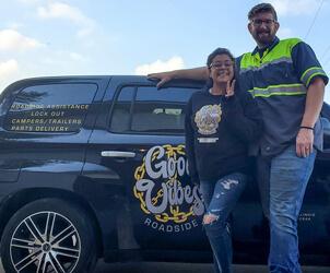 Good Vibes Roadside Owner, Cynthia Johnson and husband