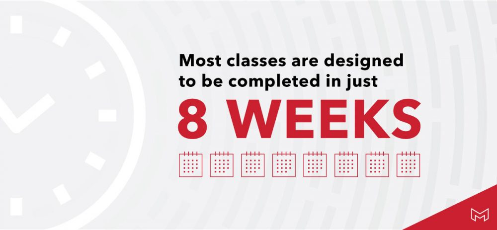 most classes are designed to be completed in 8 weeks