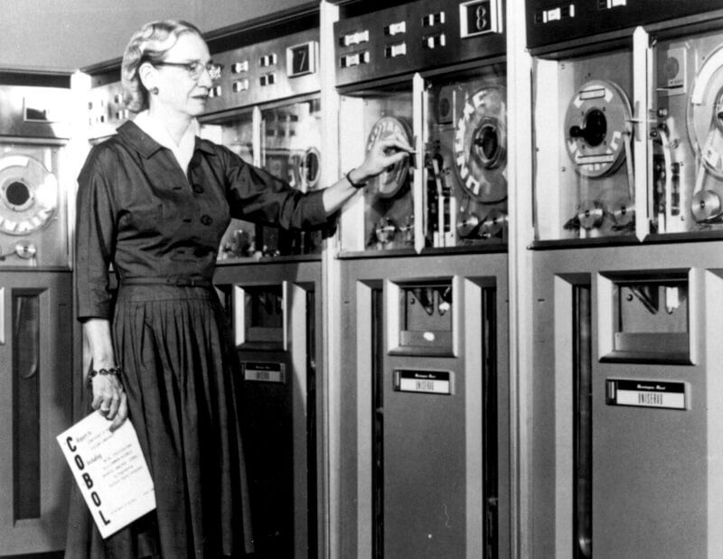 Computer pioneer Grace Hopper working on the first computer language.