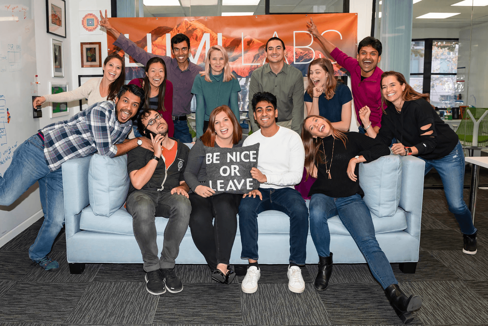 Marissa Mayer, self-professed introvert leader, with her latest team at LumiLabs. (Photo: LumiLabs)