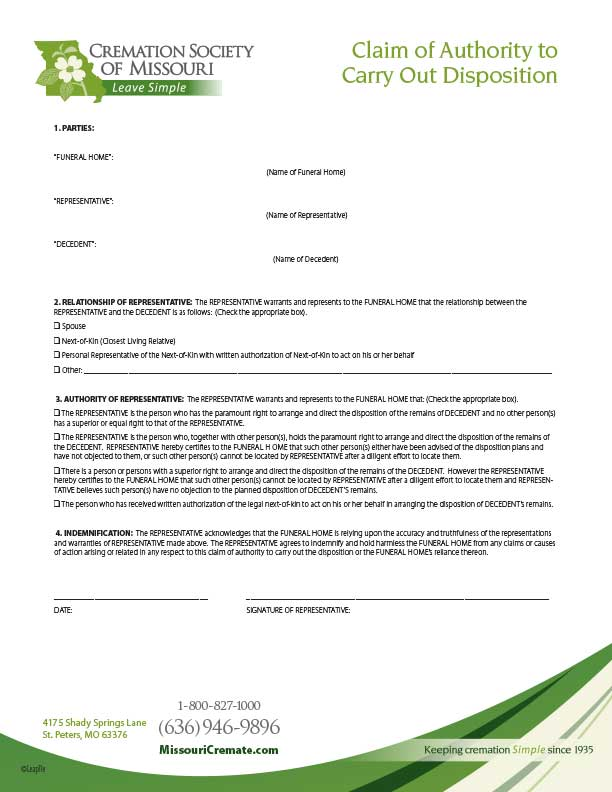 Download Claim of Authority to Carry Out Disposition