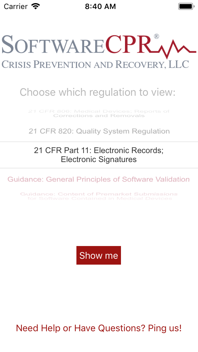 SoftwareCPR's app shows FDA Regulations and Guidance related to medical devices right on your smartphone or tablet!