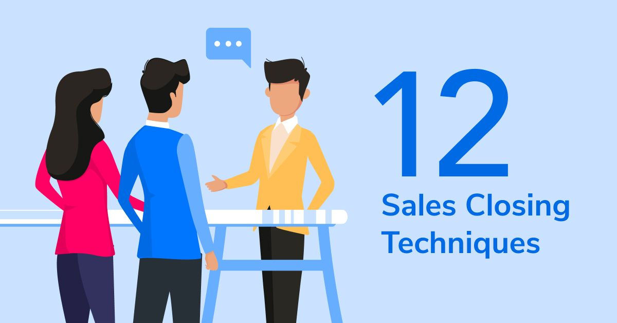 """Illustration of businessman talking to two customers with the text """"12 sales closing techniques"""""""