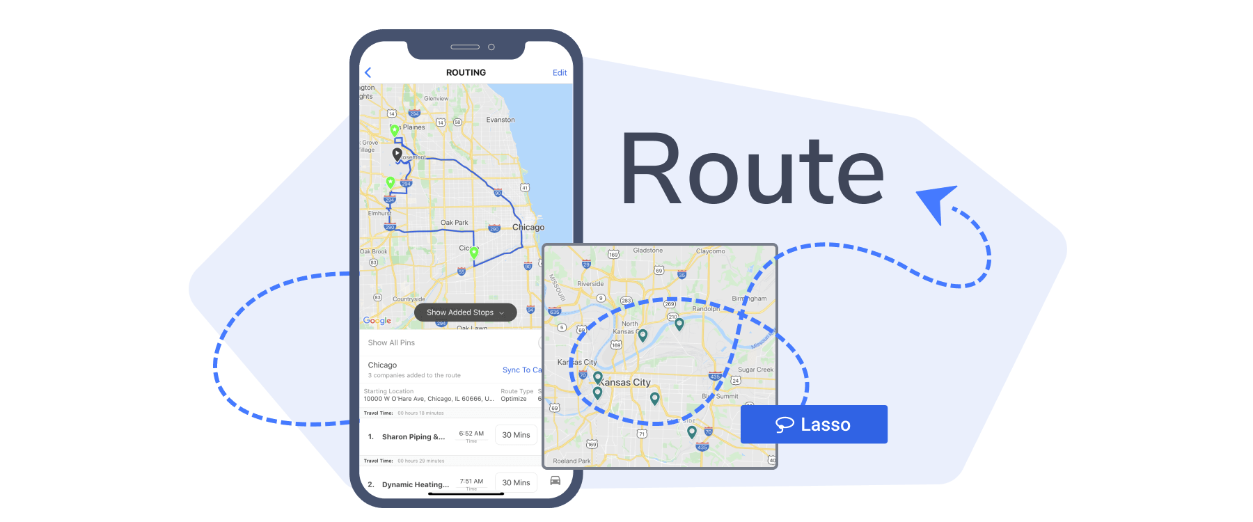 Illustration of Map My Customers' routing capabilities