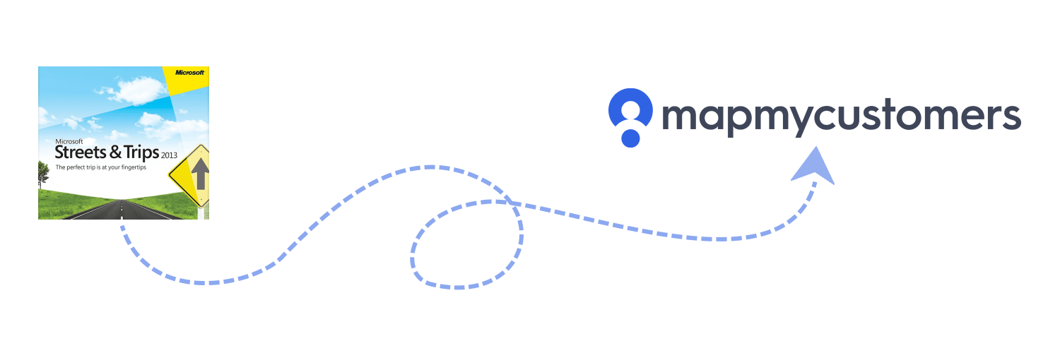 Illustration of dashed line pointing from Microsoft Streets & Trips logo to the Map My Customers logo