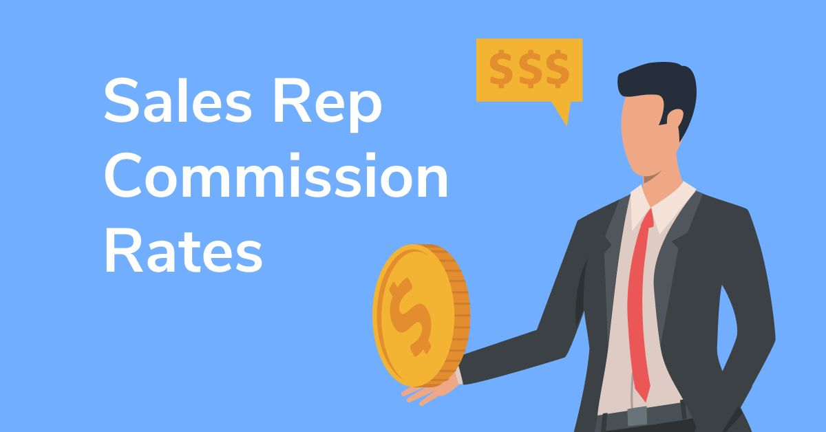 """Illustration of businessman holding coin with text """"Sales Rep Commission Rates"""""""