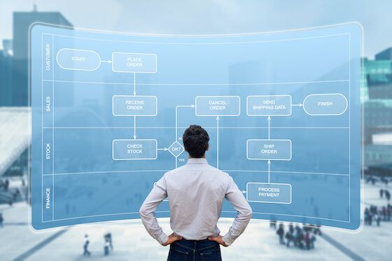 Image of man looking at screen with flow chart towards sale