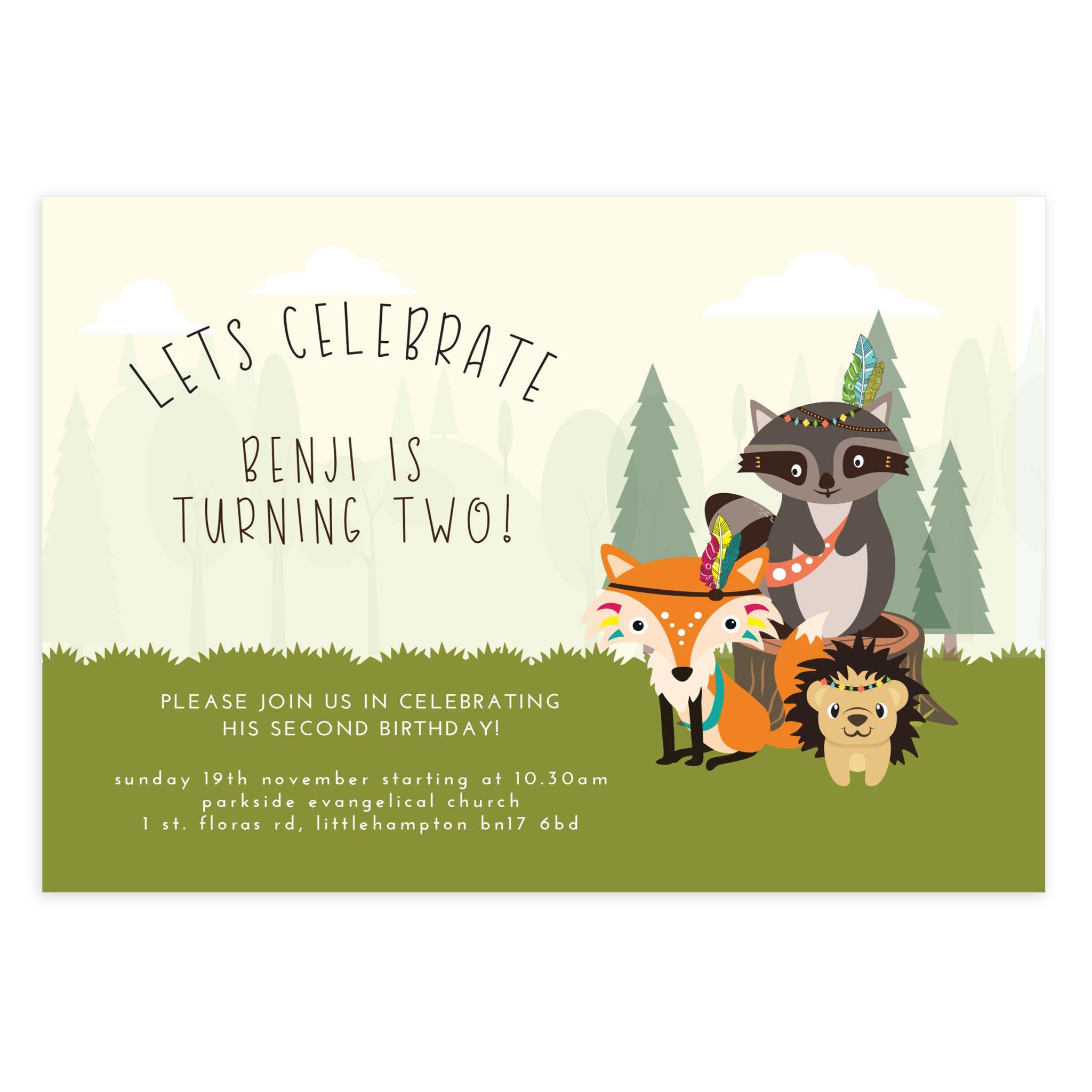 Printable Forest friends Birthday Invitation - Mockaroon