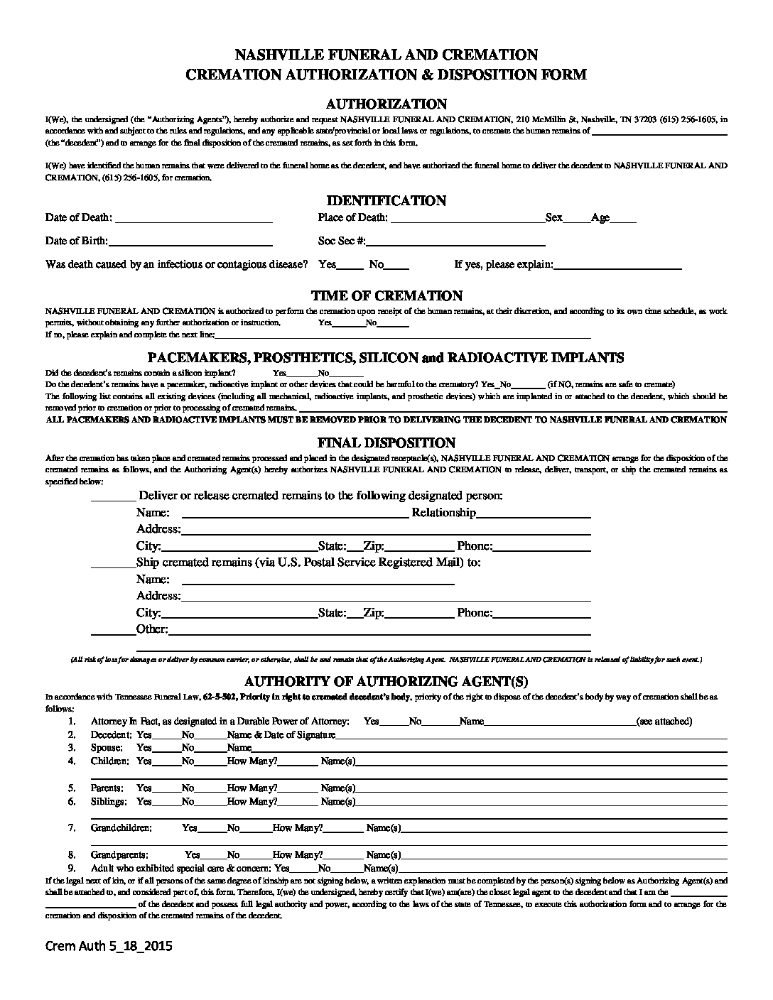 Download our Cremation Authorization form - Nashville Funeral and Cremation