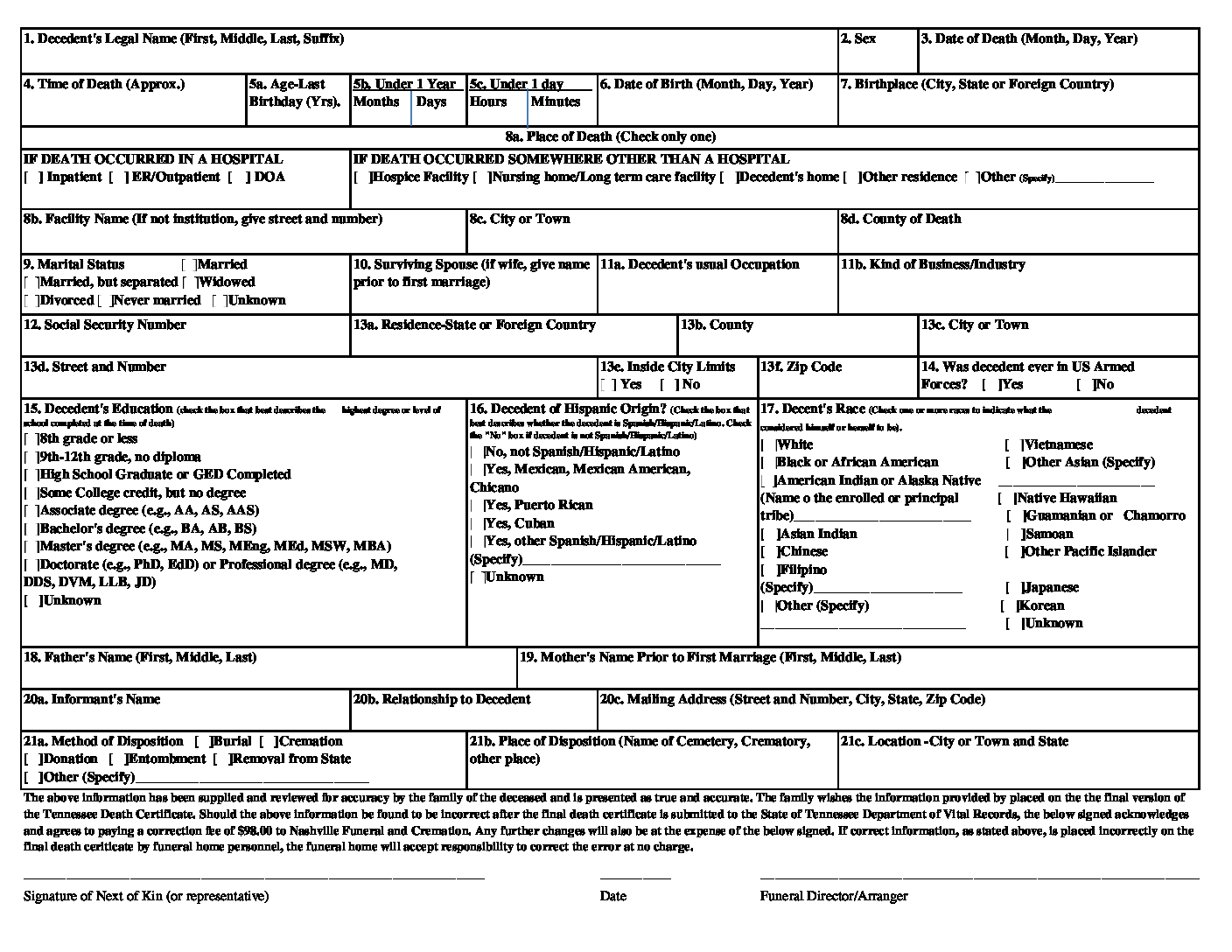Download our Death Certificate order form - Nashville Funeral and Cremation