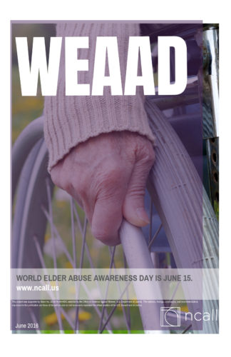 WEAAD Poster: older person's hand on wheelchair wheel