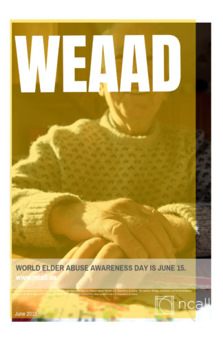 WEAAD Poster: older man with hands in front of him on table