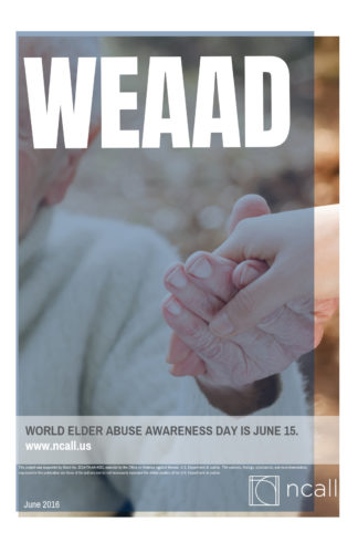 WEAAD Poster: older woman reaching out to another person