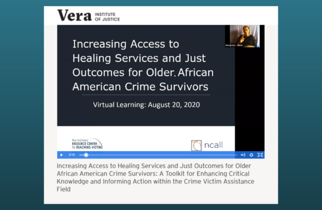Graphic for Increasing Access to Healing Services and Just Outcomes for Older African American Crime Survivors webinar