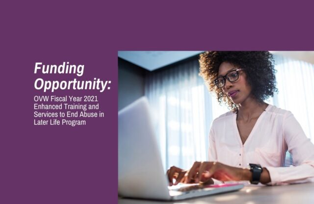 Photo of a woman working on a laptop. Text reads: Funding Opportunity: Office on Violence Against Women Fiscal Year 2021 Enhanced Training and Services to End Abuse in Later Life Program