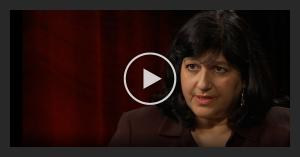 Video still of a woman talking