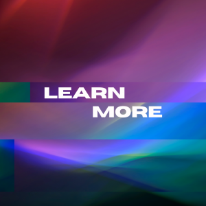 Abstract blue and purple background with white text that reads: LEARN MORE