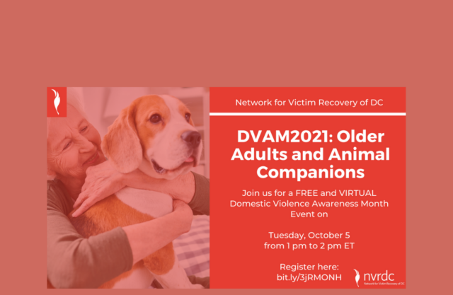 Photo of an older woman holding a dog. Text reads: DVAM 2021: Older Adults and Companion Animals.